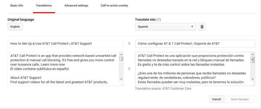 using YouTube translation