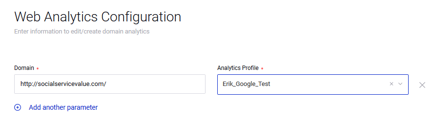 Automating Sprinklr Web Analytics: Step 5: Add a Web Analytics for each domain you have. You will need to enter a line for socialservicevalue.com and one for socialservicevalue.net if you own both domains. You can either use a unique Campaign tracking for each domain, or use the same one for all. This will be dictated on how you want to slice & dice the metrics.